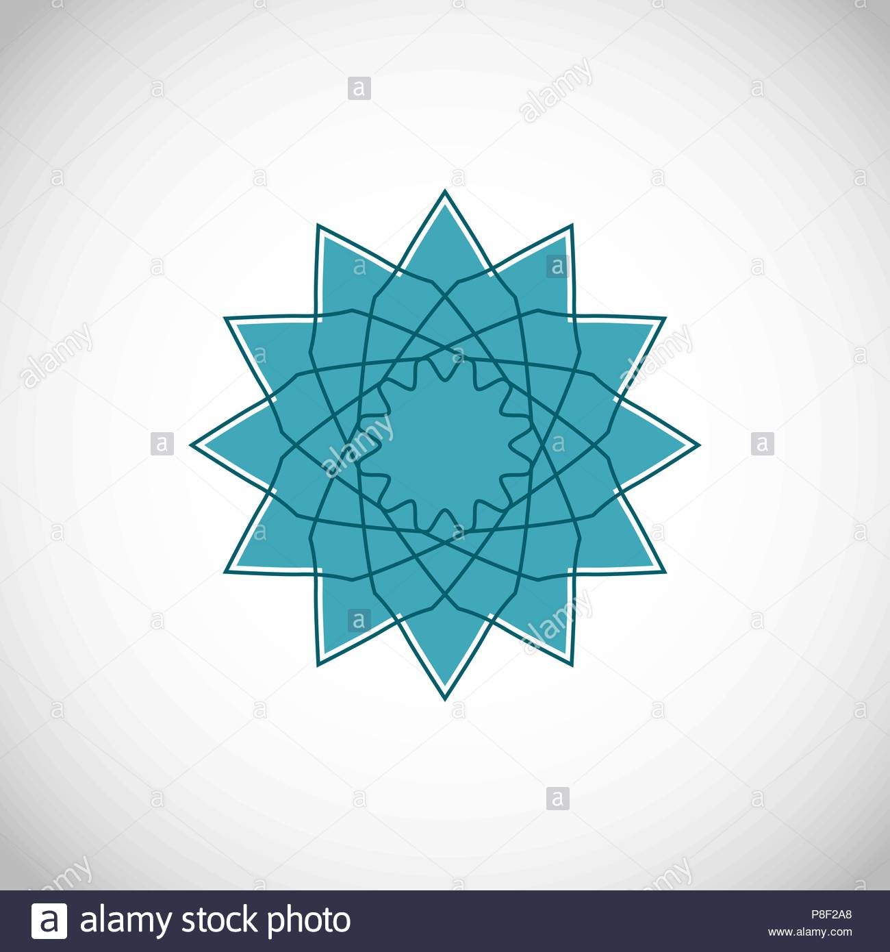 Geometrical ornament. Vector ornamental isolated flower figure Stock Vector
