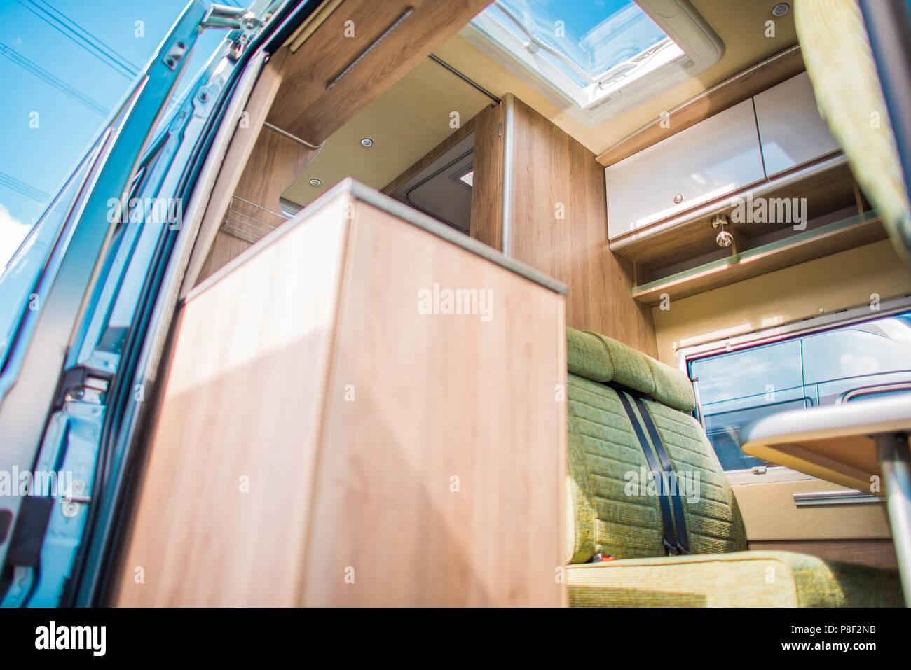 Modern Camper Van RV Interior Recreation Vehicles Industry Theme