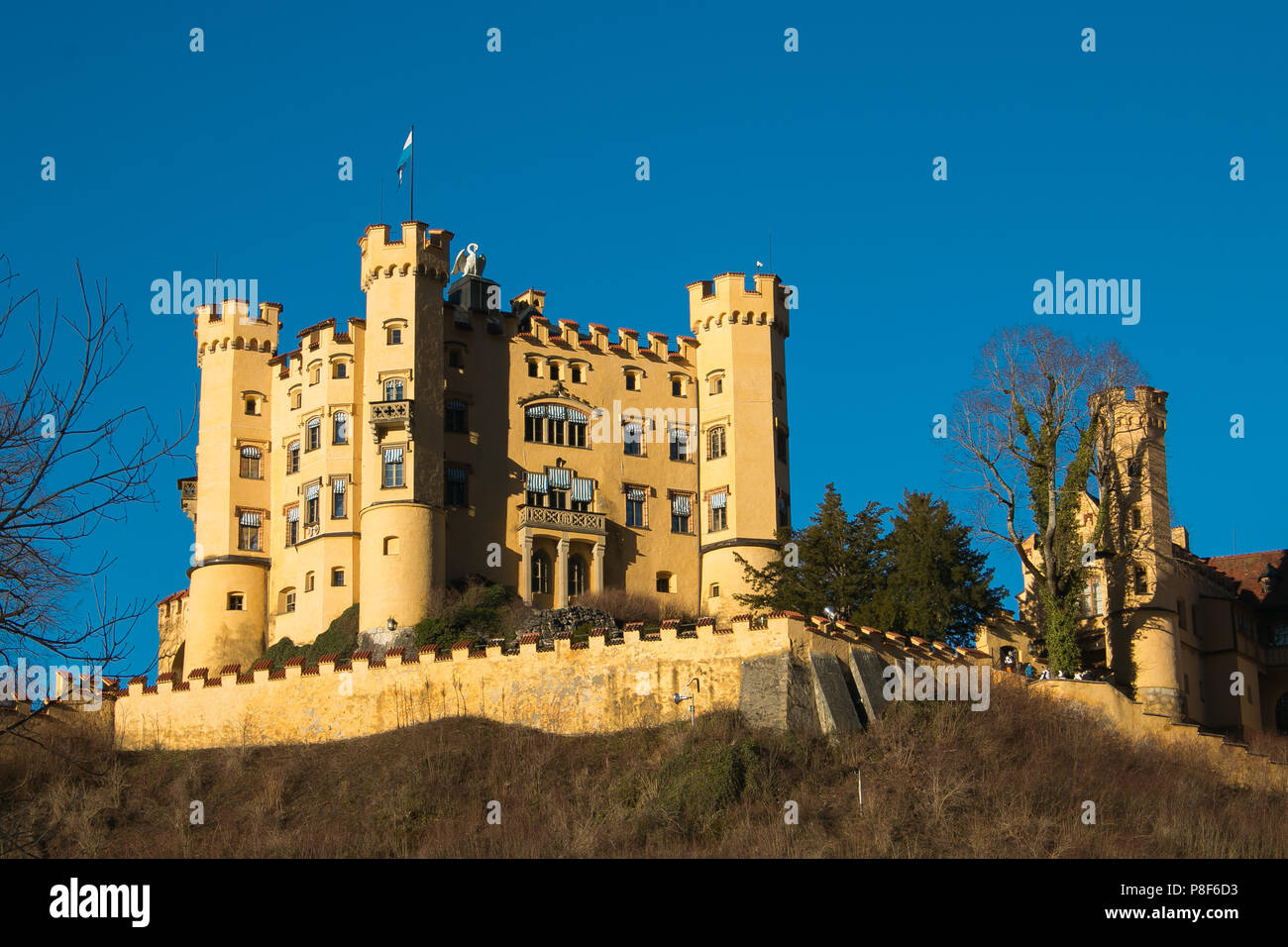 View of Hohenschwangau Castle, beautiful Romanesque Revival palace, southwest Bavaria, Germany - Stock Image