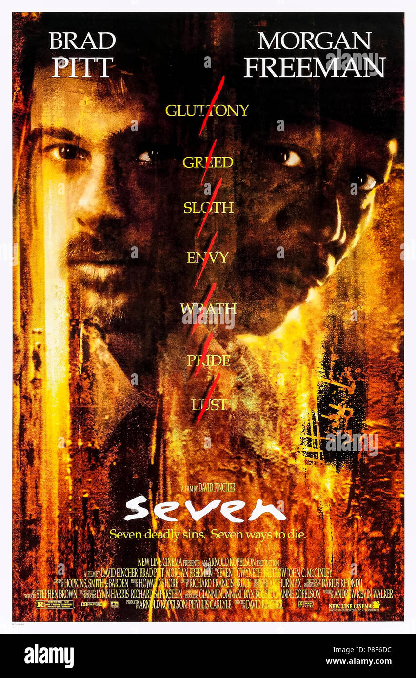 Seven (1995) (Se7en) directed by David Fincher and starring Morgan Freeman, Brad Pitt, Kevin Spacey and Gwyneth Paltrow. Two detectives on the trail of a warped serial killer using the Seven Deadly Sins to select his victims. - Stock Image