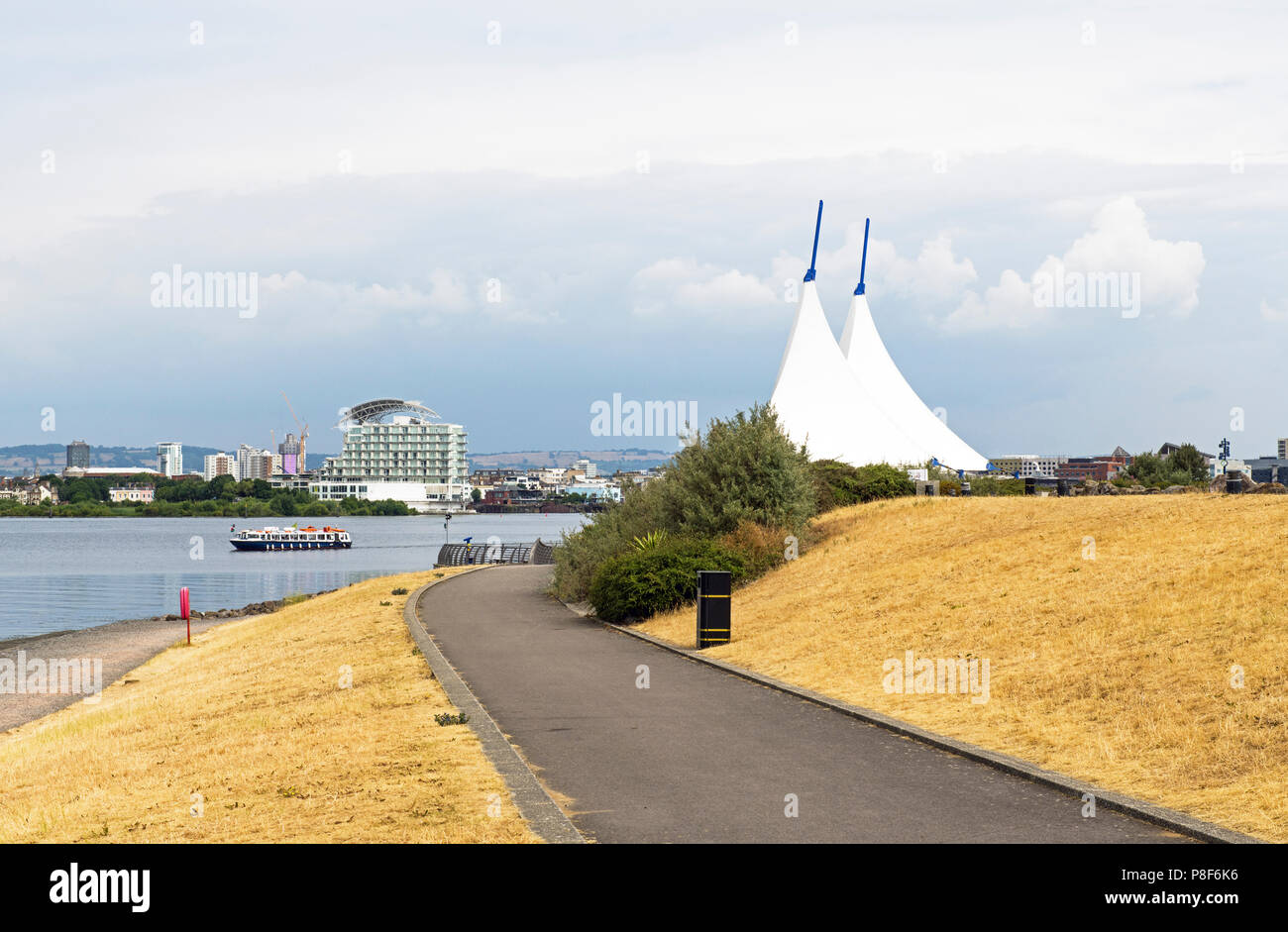 Cardiff Bay during long hot summer of 2018 - Stock Image