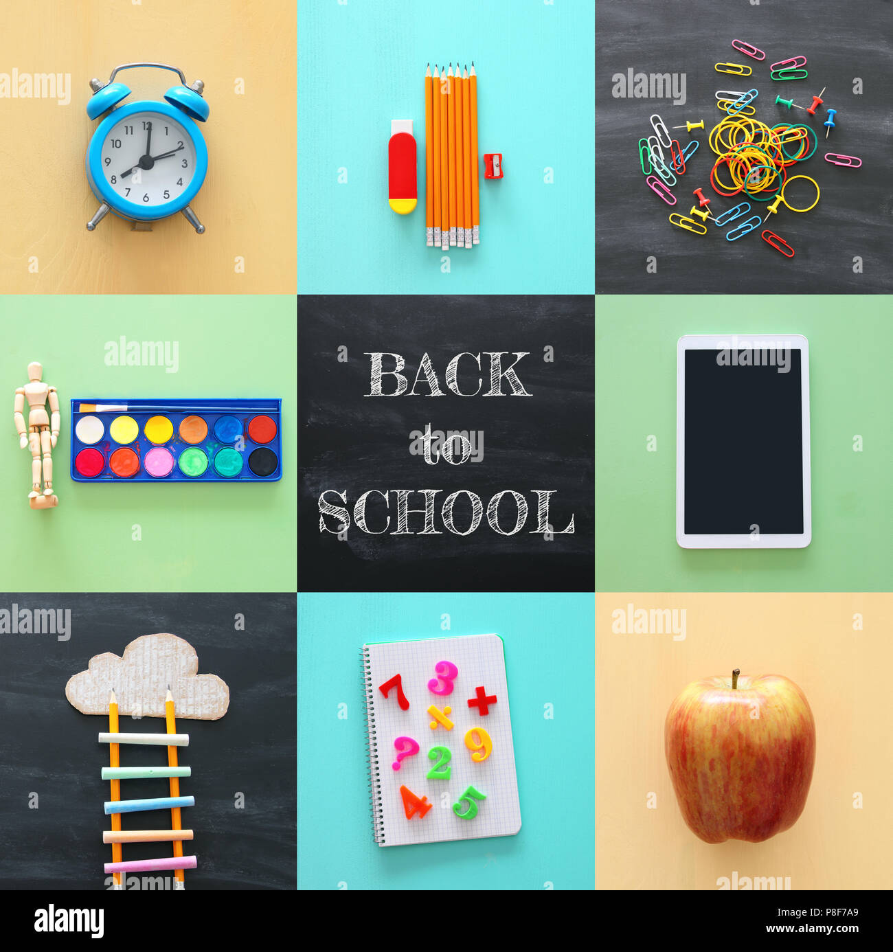 Back To School Collage Concept School Objects And Supply With