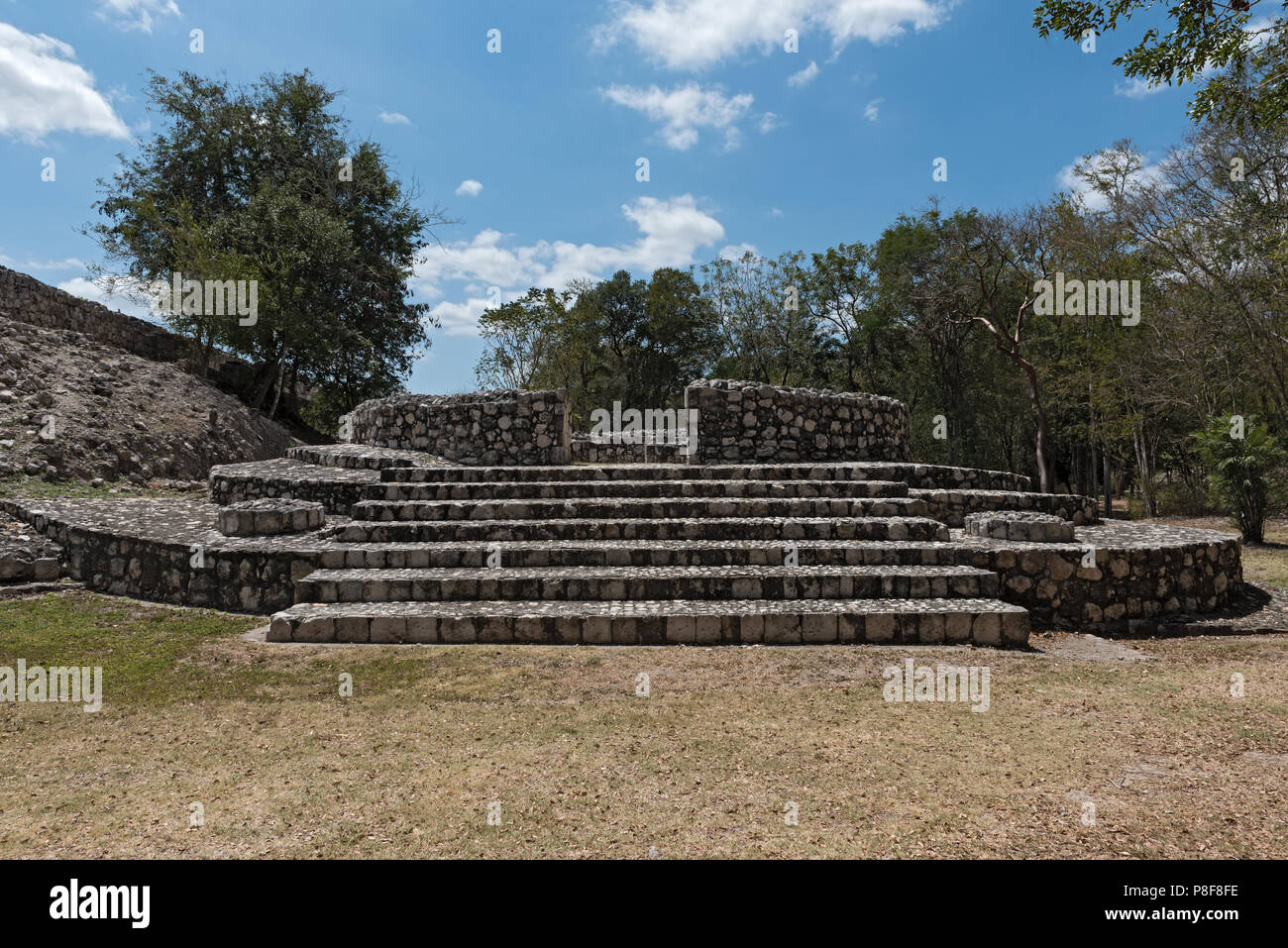 Ruins of the ancient Mayan city of Edzna near campeche, mexico. - Stock Image