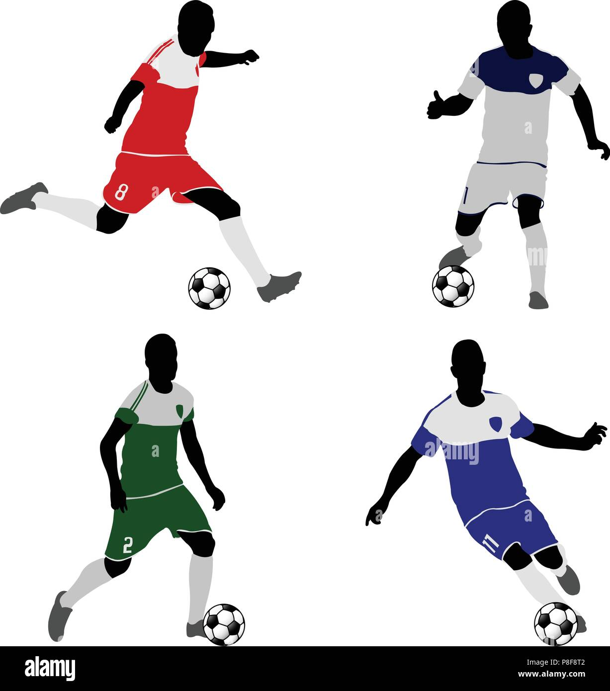 soccer players silhouettes - vector - Stock Vector