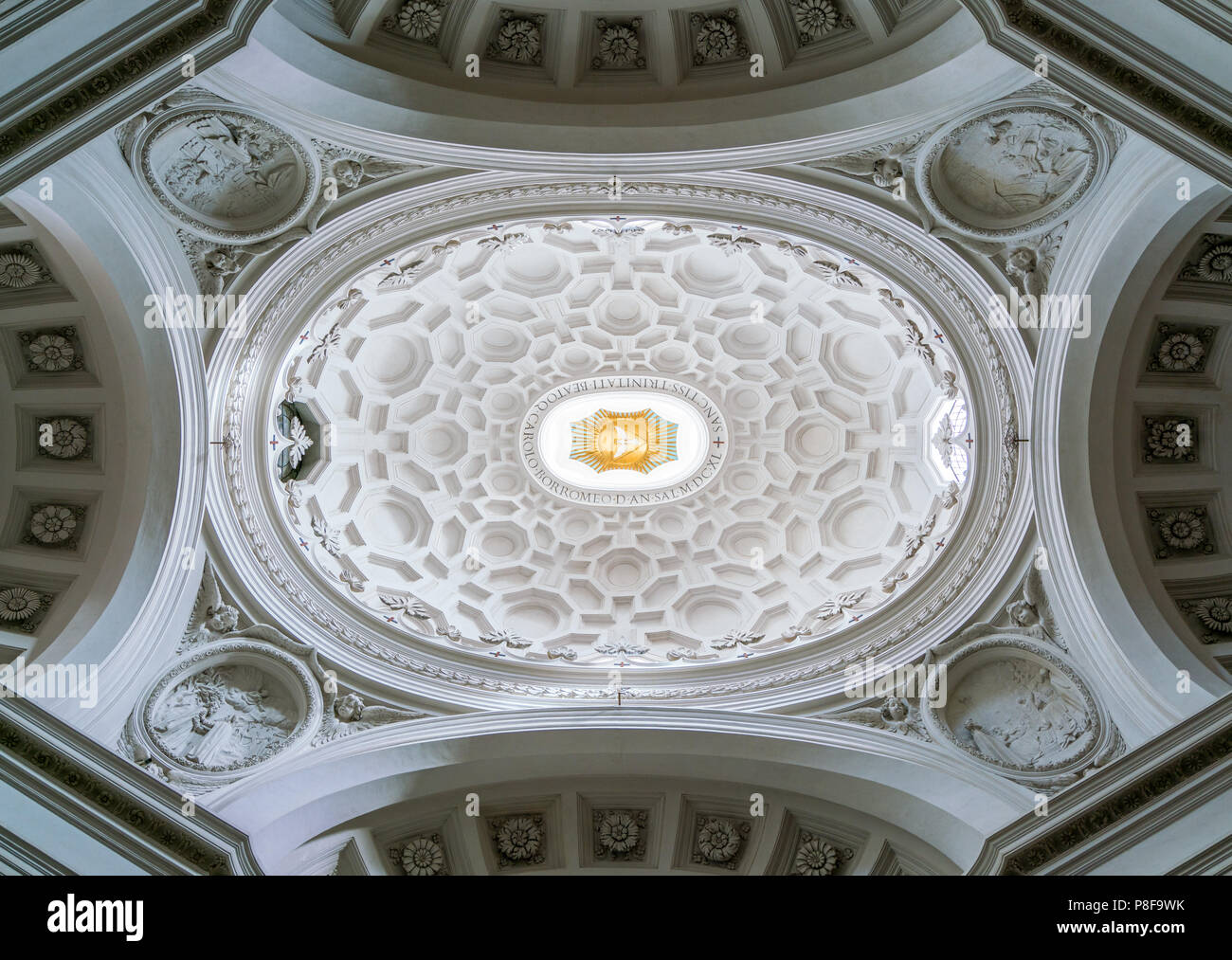 The dome in the Church of Saint Charles at the Four Fountains in Rome, Italy. - Stock Image