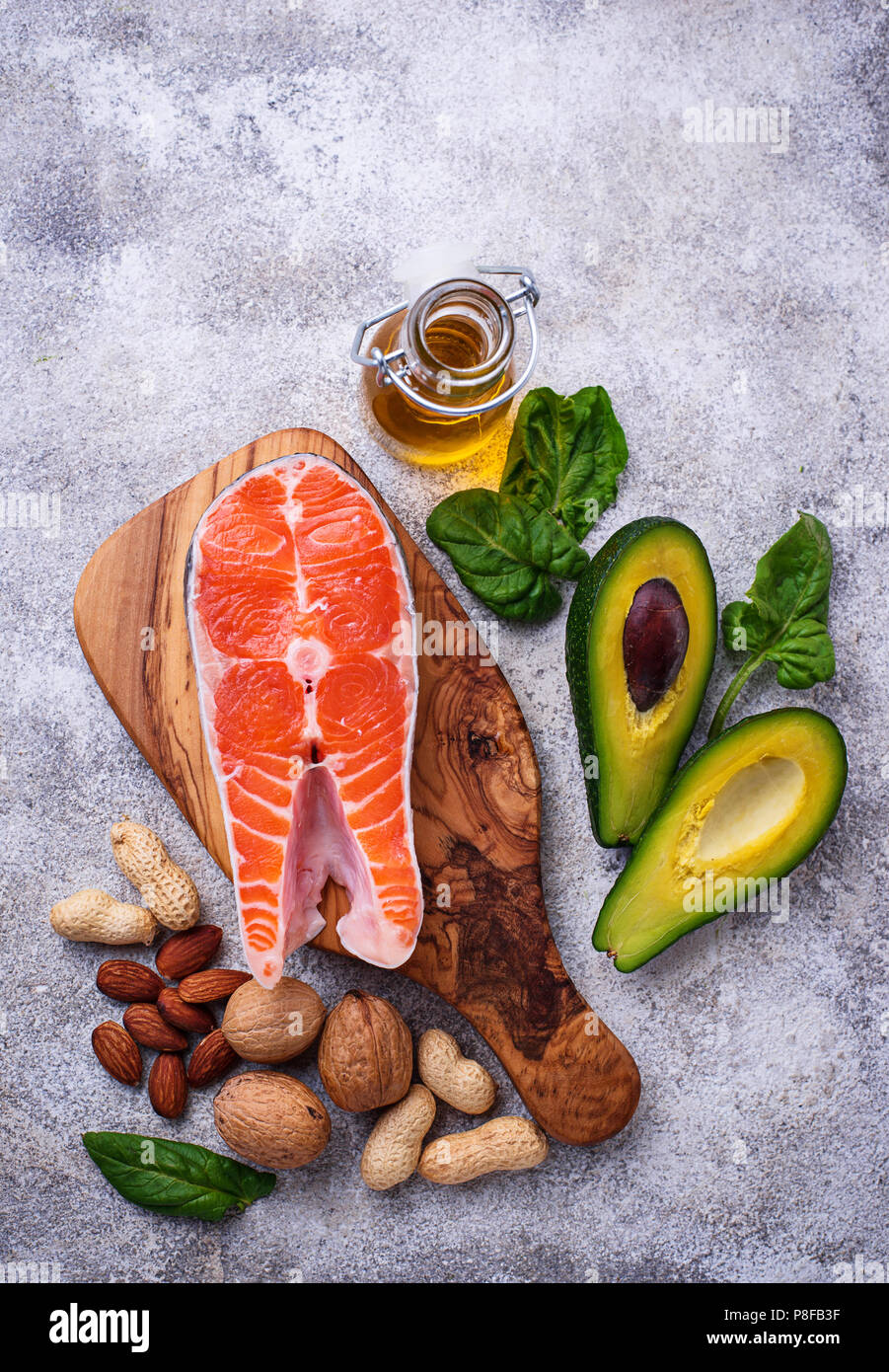 Selection of healthy fat and omega 3 sources. - Stock Image