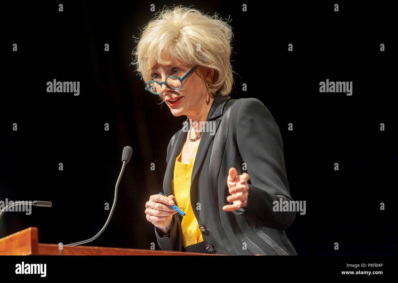 Leslie Stahl from 60 Minutes Television Show standing at a podium and giving a lecture. - Stock Image