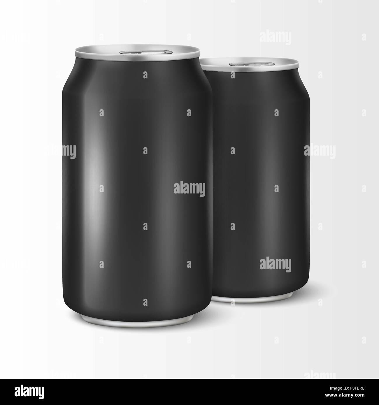 two vector realistic 3d empty glossy metal black aluminium beer pack