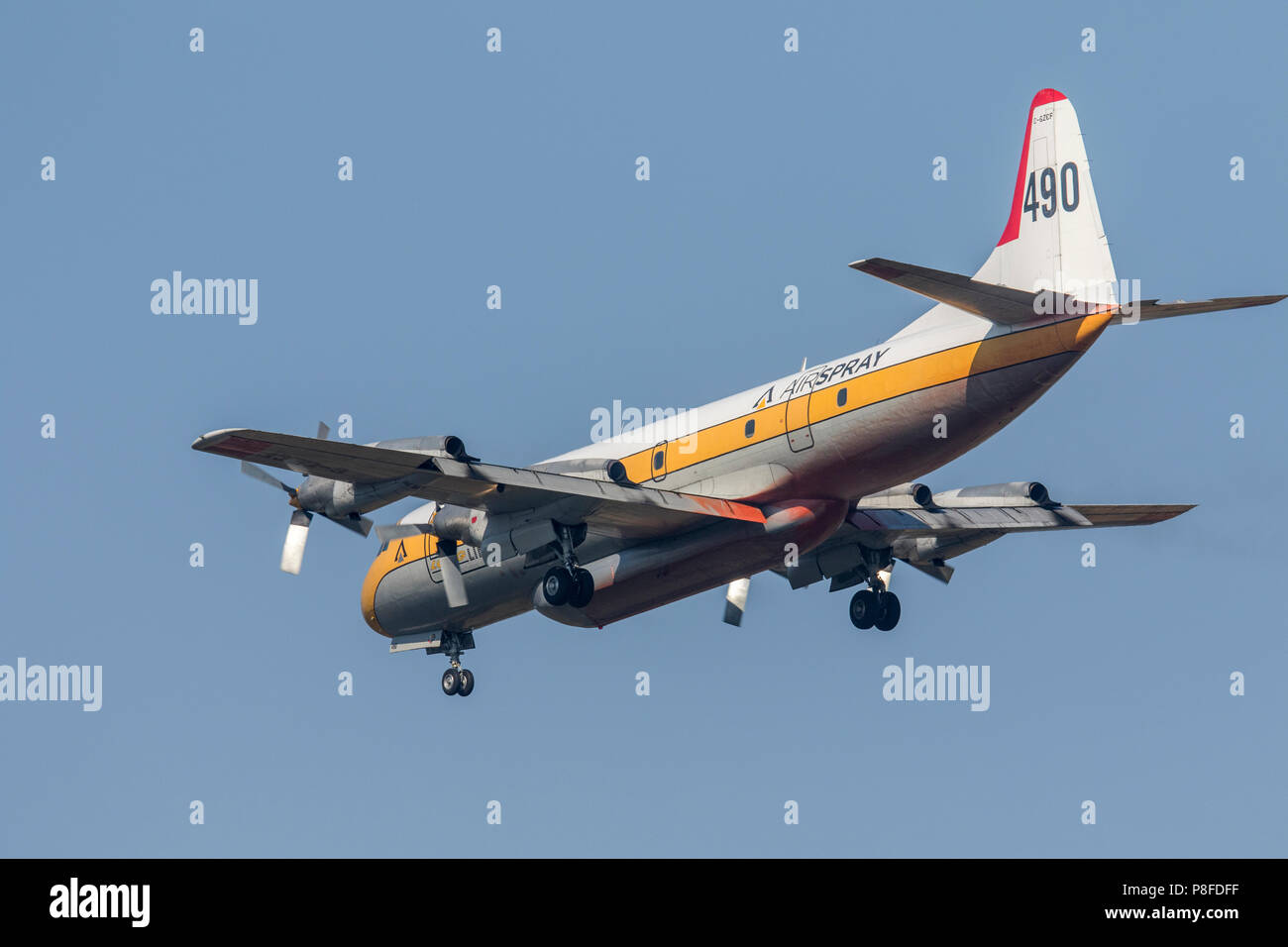 Lockheed L-188 Electra water bomber in flight to drop load