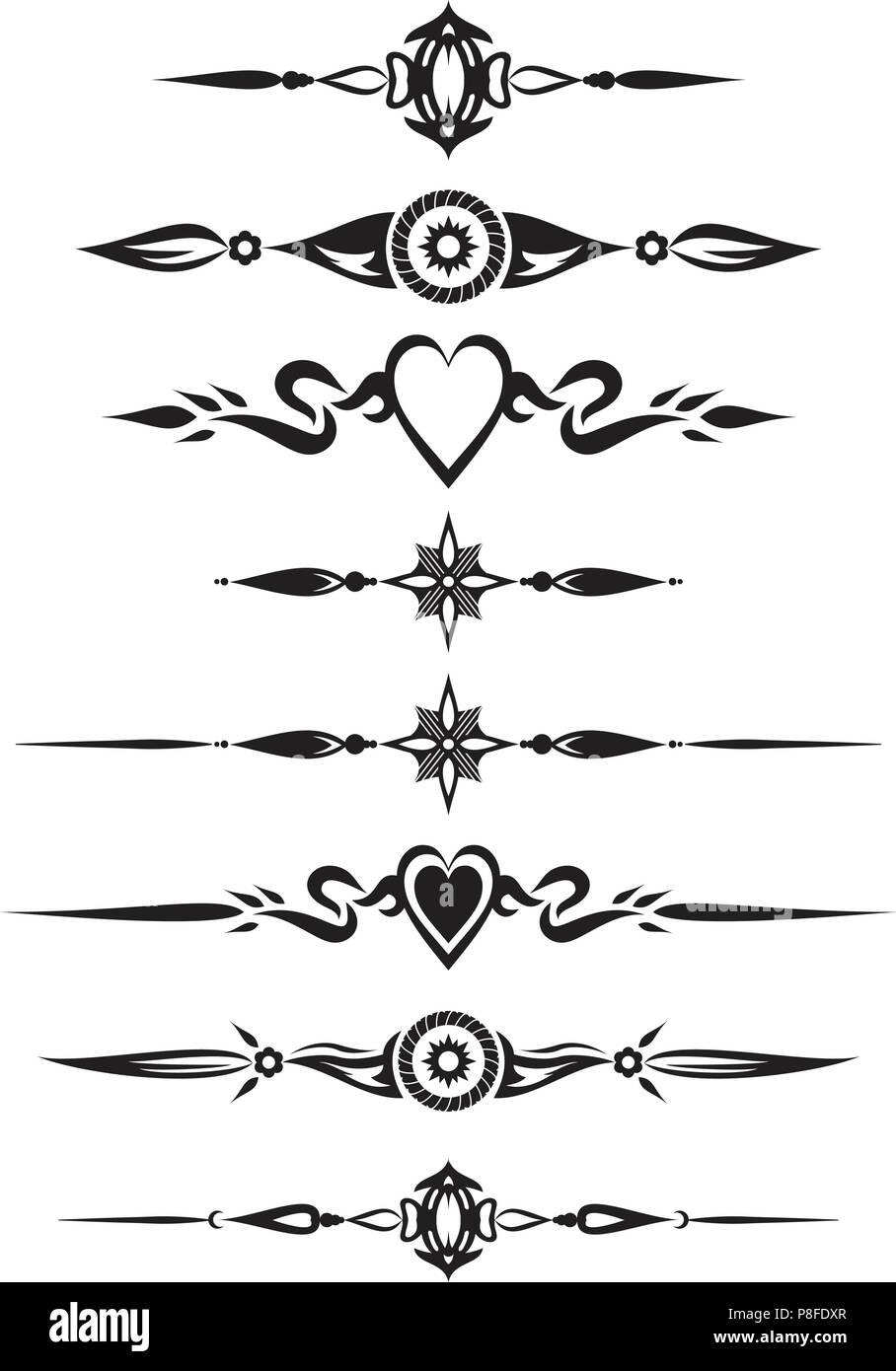 Decorative Text Divider Separator Ornament Design Element Stock
