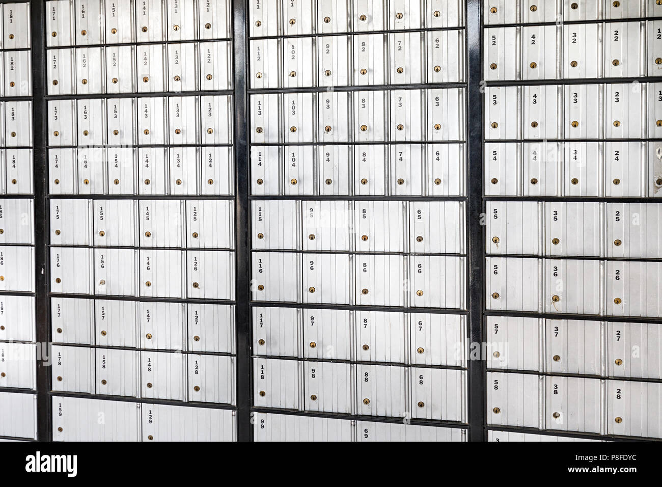Mailboxes, US post office, USA - Stock Image