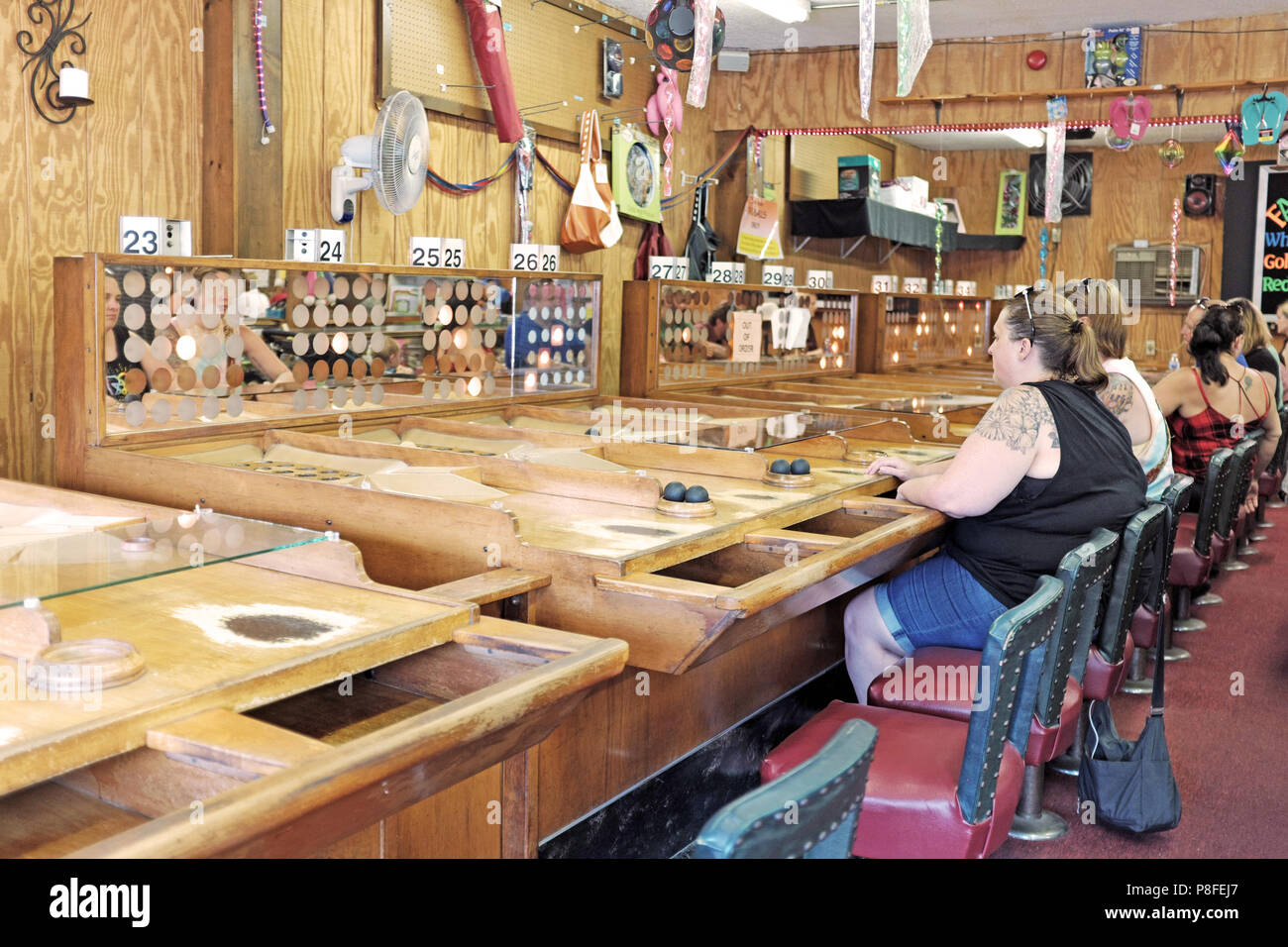 Old-school amusement game of Fascination is played in a Fascination parlor in Geneva-on-the-Lake, Ohio, USA. - Stock Image