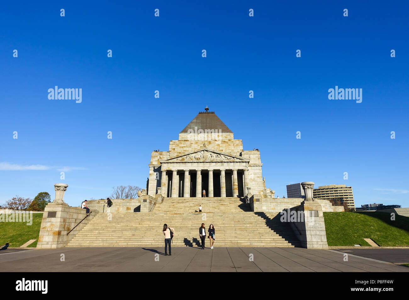 Historic building of Shrine of Remembrance. It is a war memorial in Melbourne, Victoria, Australia. - Stock Image