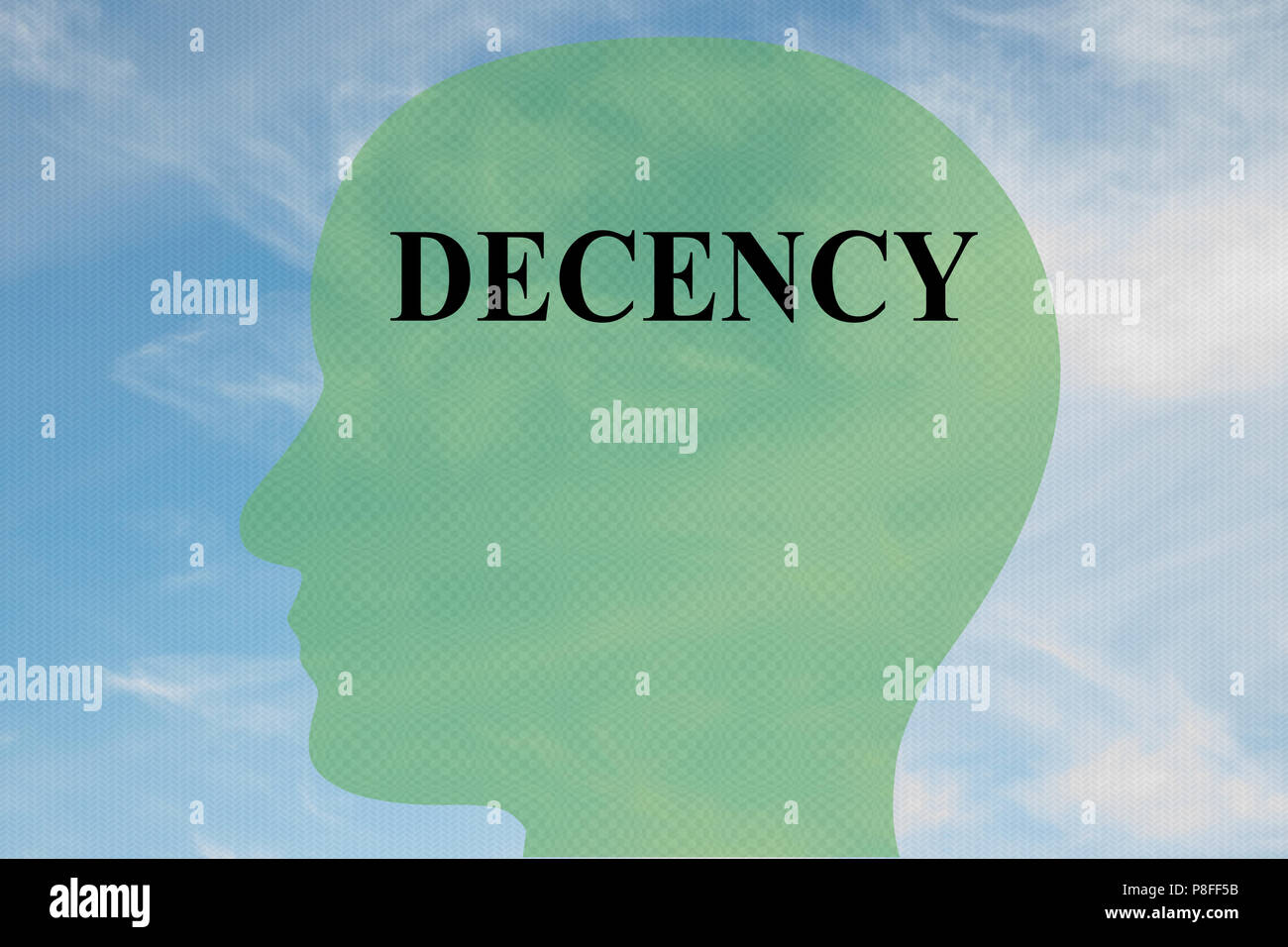 Render illustration of DECENCY title on head silhouette, with cloudy sky as a background. - Stock Image