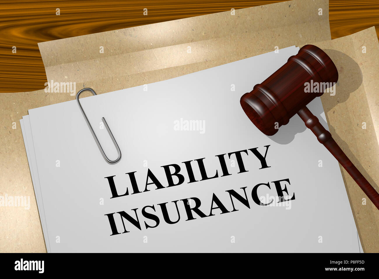 3D illustration of LIABILITY INSURANCE title on legal document - Stock Image