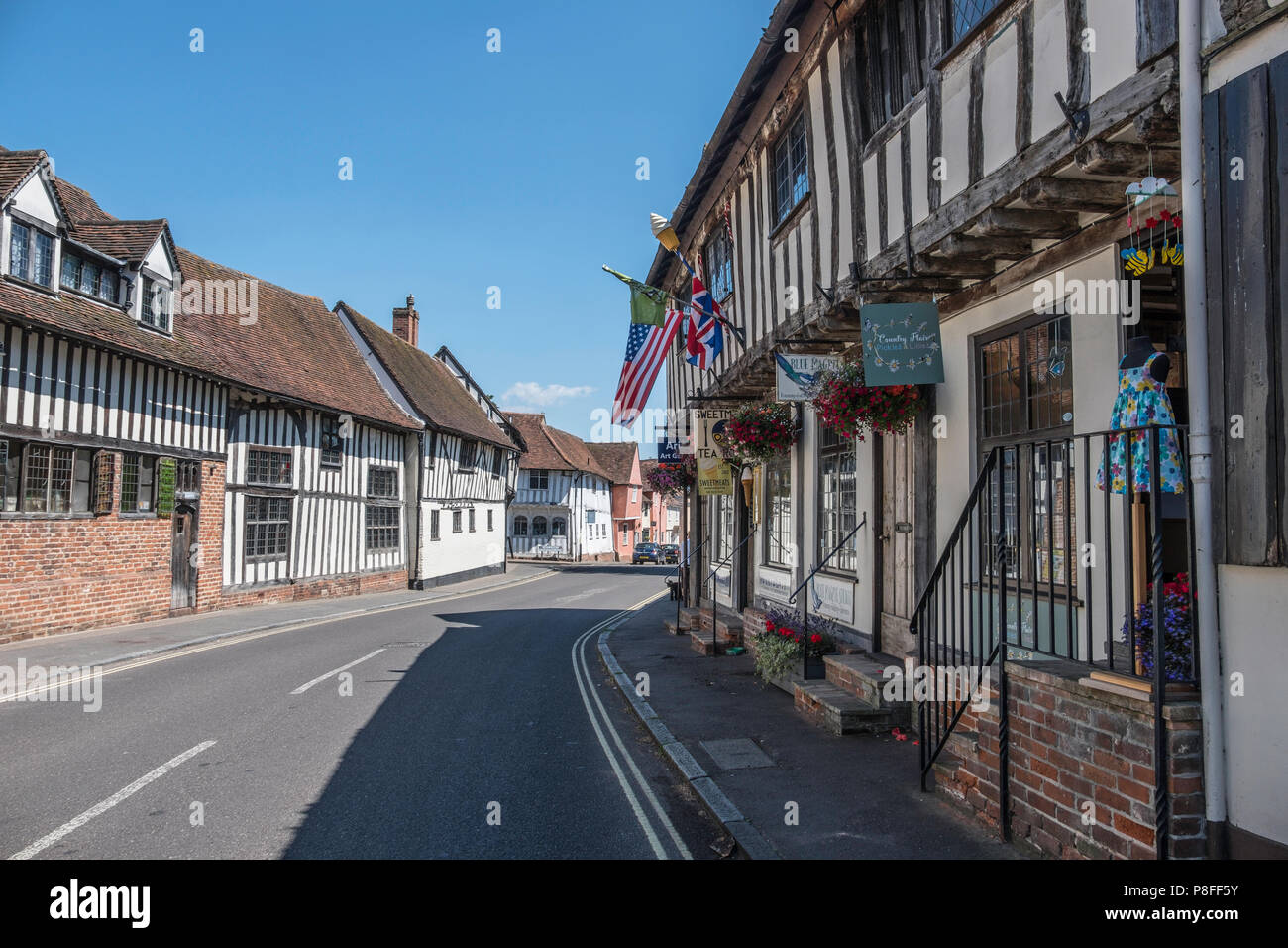 Timber framed buildings in Water Street Lavenham; a town noted for its 15th-century church and half-timbered medieval cottages. - Stock Image