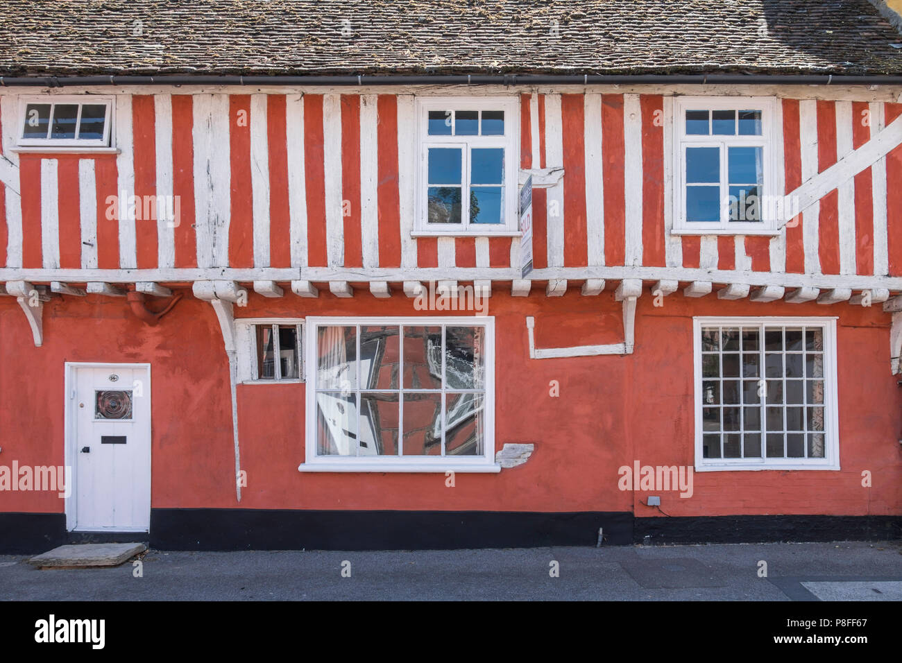 Timber framed building in Lavenham a town noted for its 15th-century church and half-timbered medieval cottages. - Stock Image