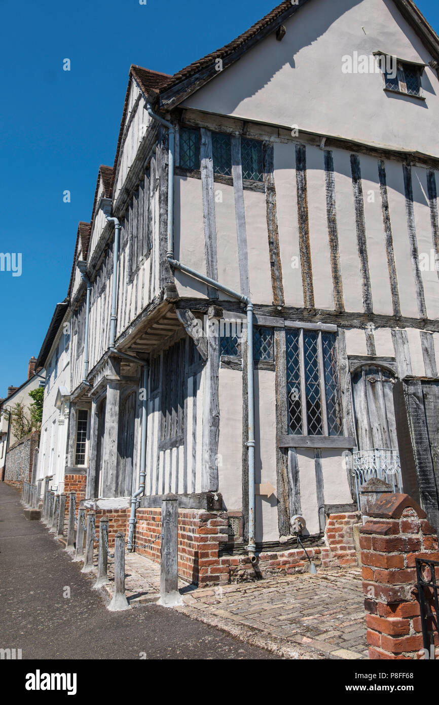 Shilling Old Grange, a timber framed building in Lavenham a town noted for its 15th-century church and half-timbered medieval cottages. - Stock Image
