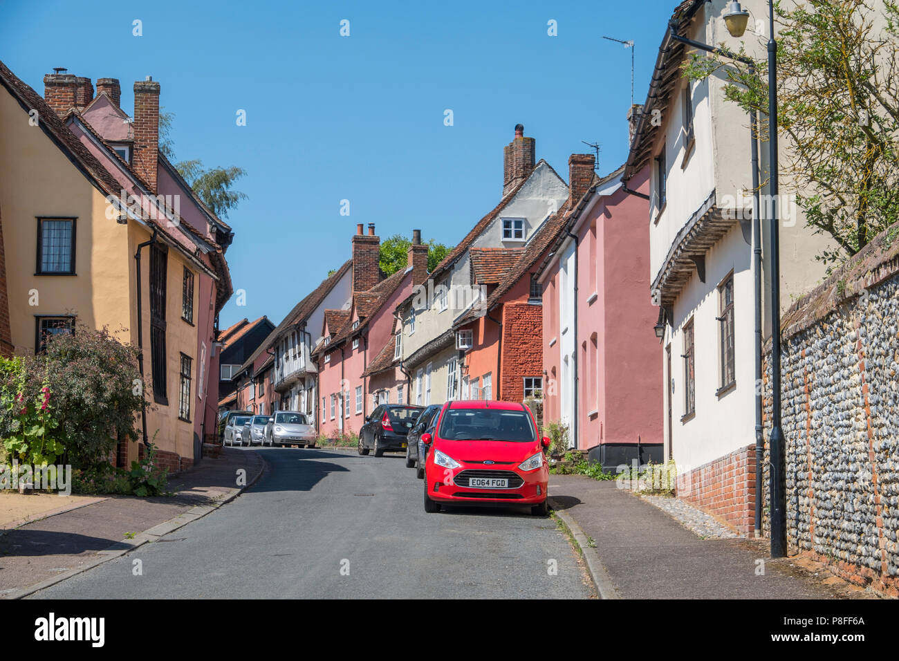 Old buildings in Shilling Street Lavenham a town noted for its 15th-century church and half-timbered medieval cottages. - Stock Image