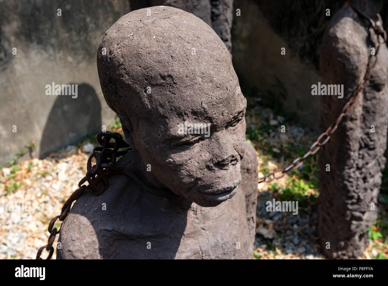 STONE TOWN, ZANZIBAR - JANUARY 9, 2015: Monument of slaves to victims of slavery - Stock Image