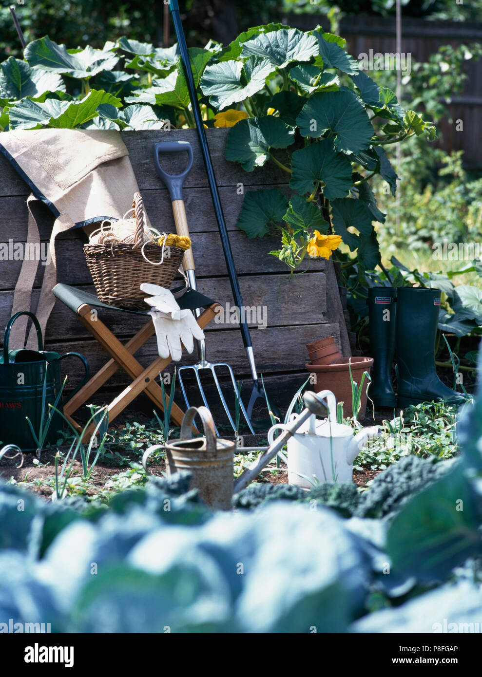 Peachy Garden Fork Beside A Canvas Stool With A Vintage Basket Gmtry Best Dining Table And Chair Ideas Images Gmtryco
