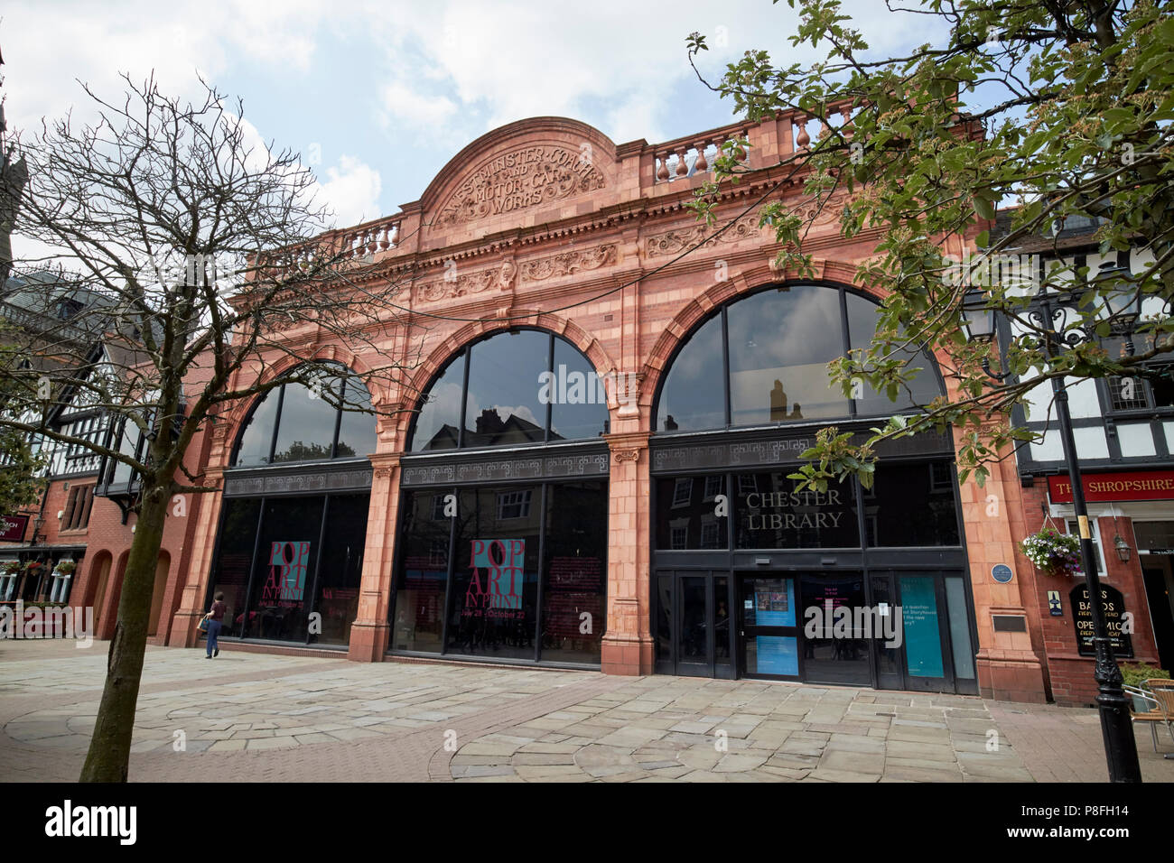 former Chester library in the old westminster coach and motor car works building in chester cheshire england uk - Stock Image