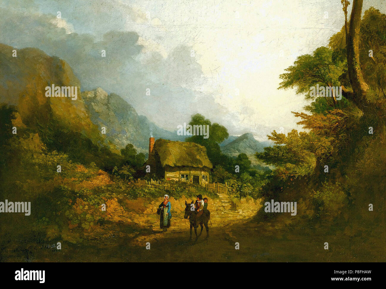 Stark  James - a Landscape with Travellers and Donkey in a Lane - Stock Image