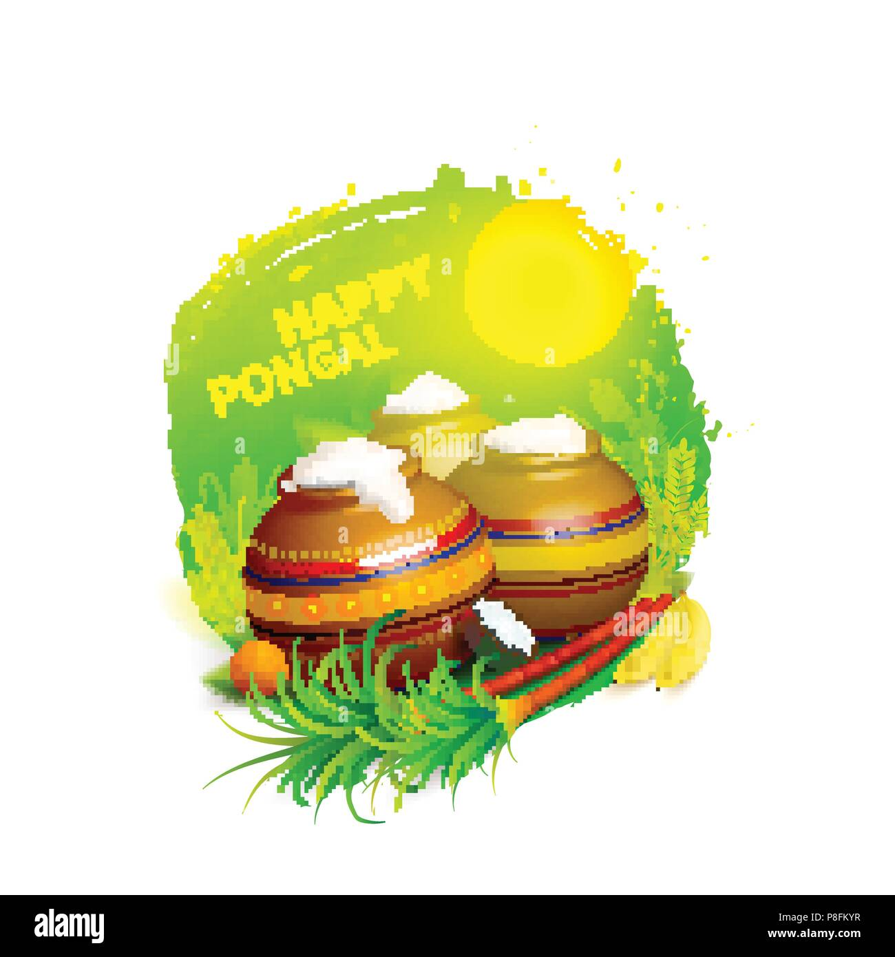 Vector Illustration Of Happy Pongal Greeting Background South