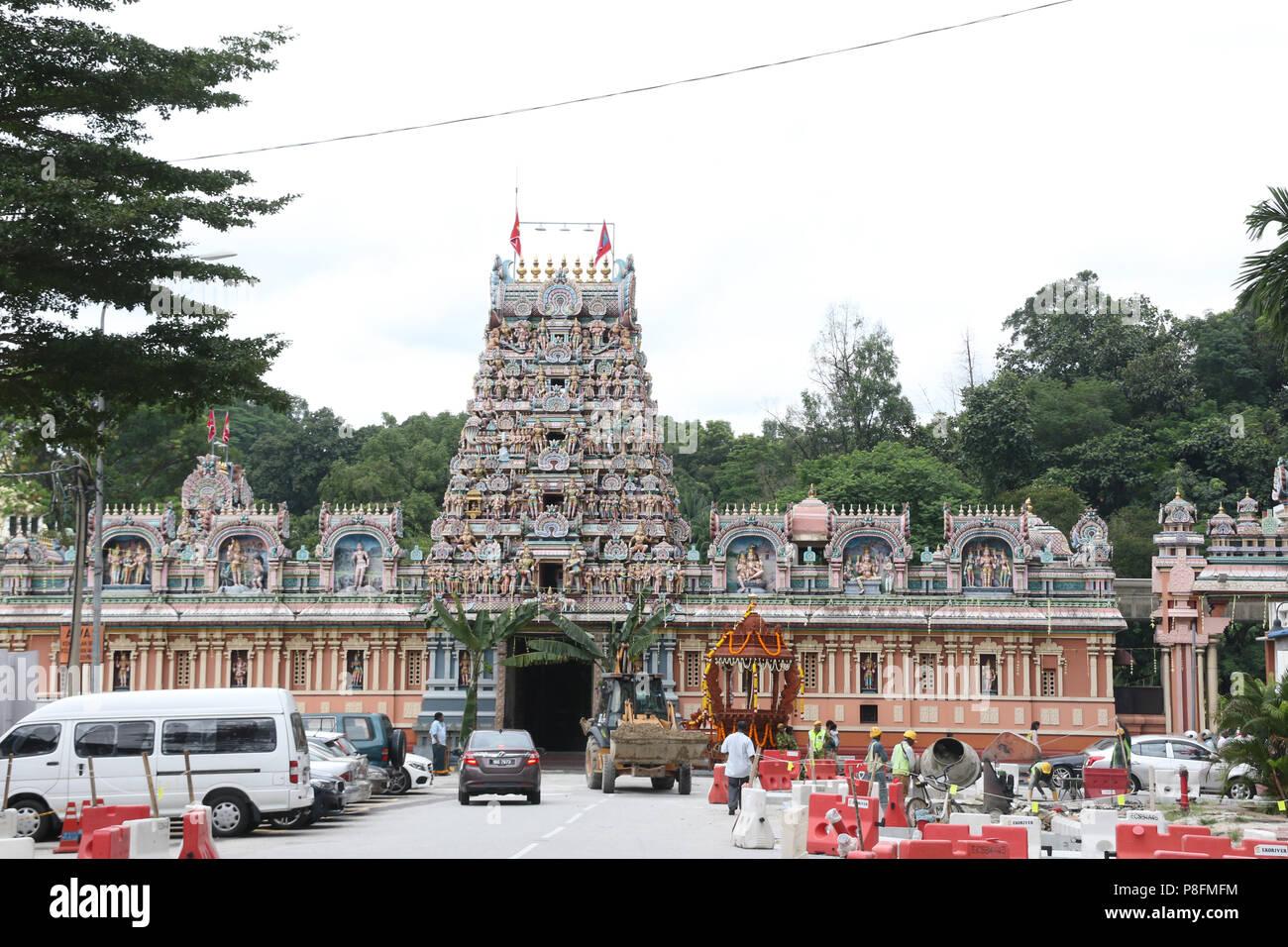 Sri Kandaswamy Kovil, Sri Lankan Tamil or Ceylonese Tamil Hindu temple on Jalan Scott in Little India, Brickfields, Kuala Lumpur, Malaysia. Stock Photo