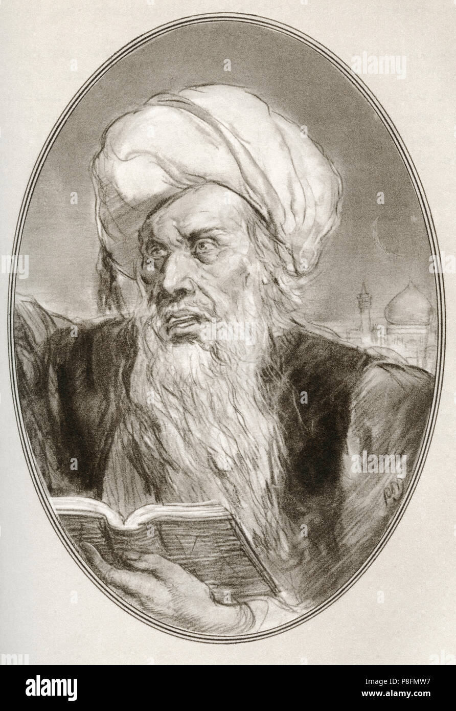 Muhammad, c. 570 –  632 AD.  Founder of Islam.   Illustration by Gordon Ross, American artist and illustrator (1873-1946), from Living Biographies of Religious Leaders. Stock Photo