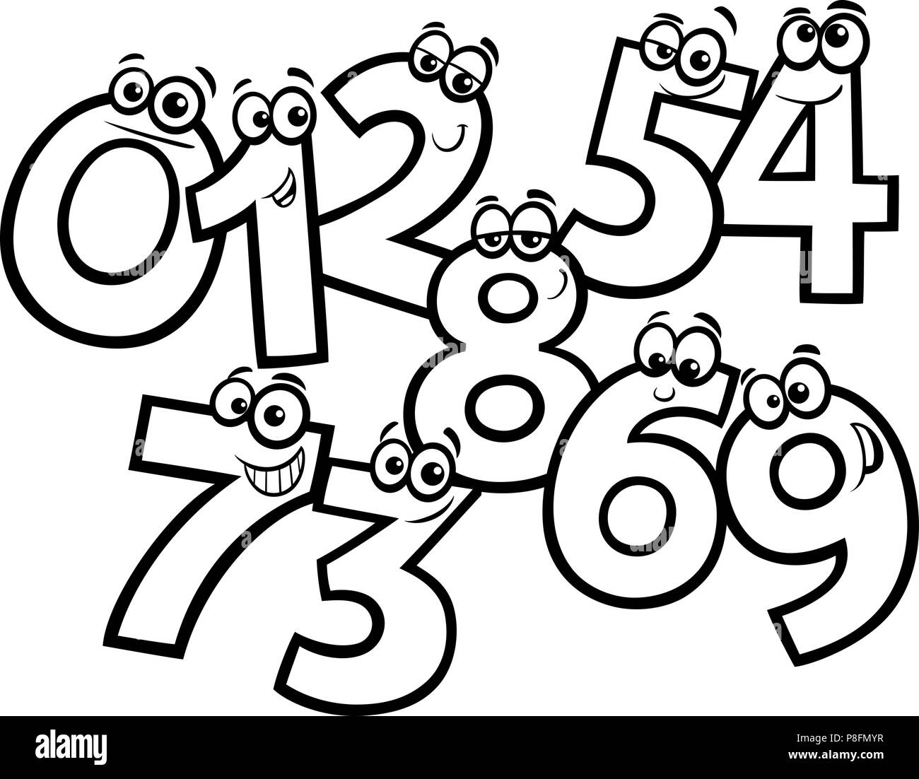 Black and white educational cartoon illustrations of basic numbers characters group coloring book