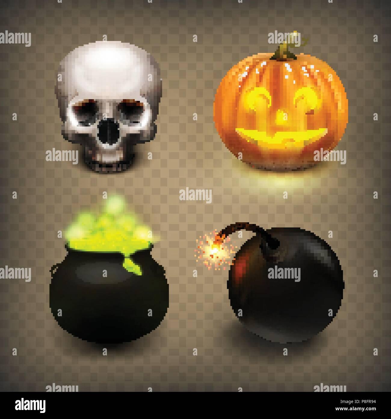 Stock Vector Illustration Realistic Skull Jack O Lantern Witches Cauldron Bomb Halloween Set Isolated On A Transparent Background Halloween Pumpkin Jack O Lantern Brewed Potion Eps 10 Stock Vector Image Art Alamy