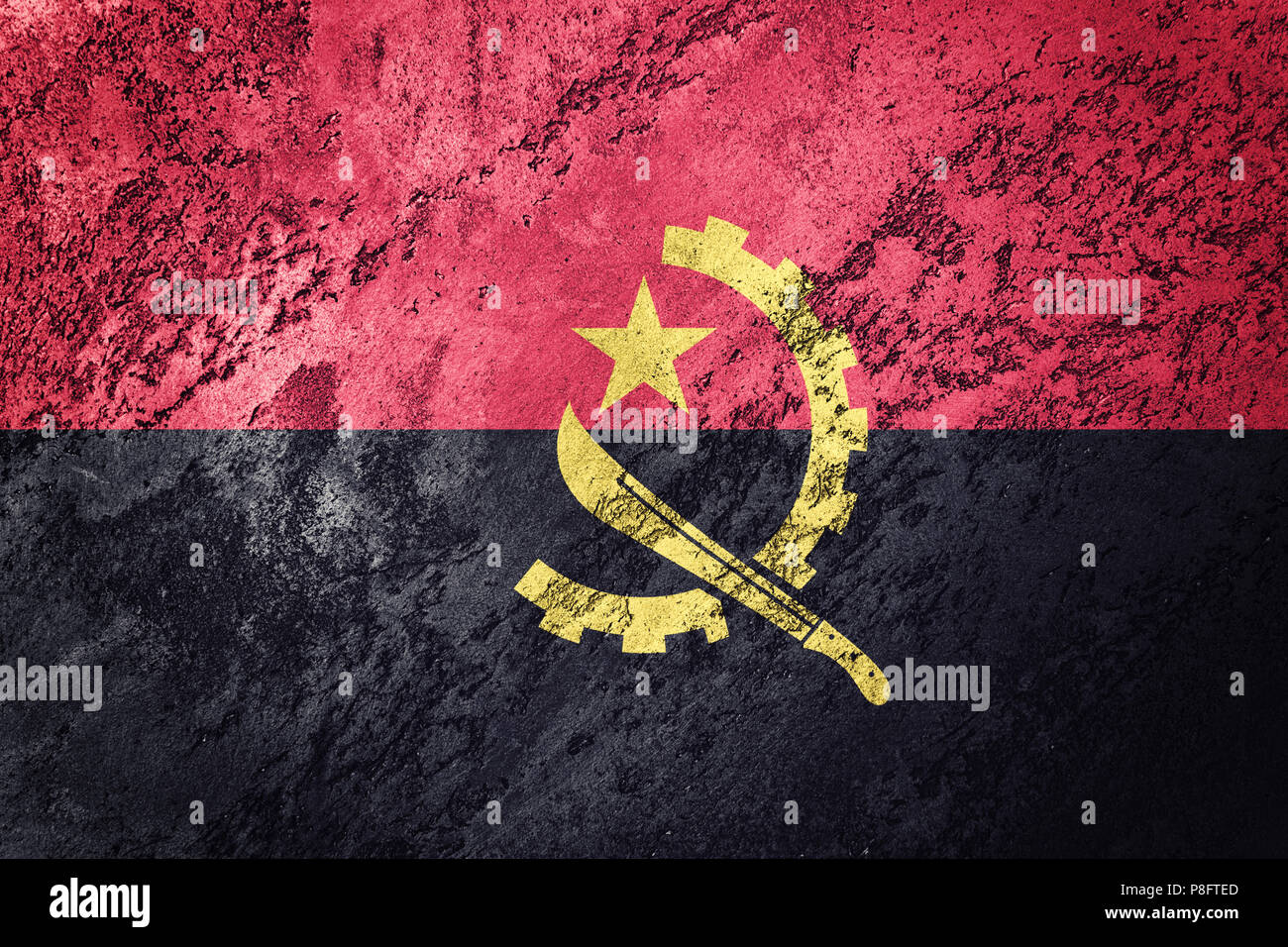 Grunge Angola flag. Angola flag with grunge texture. - Stock Image
