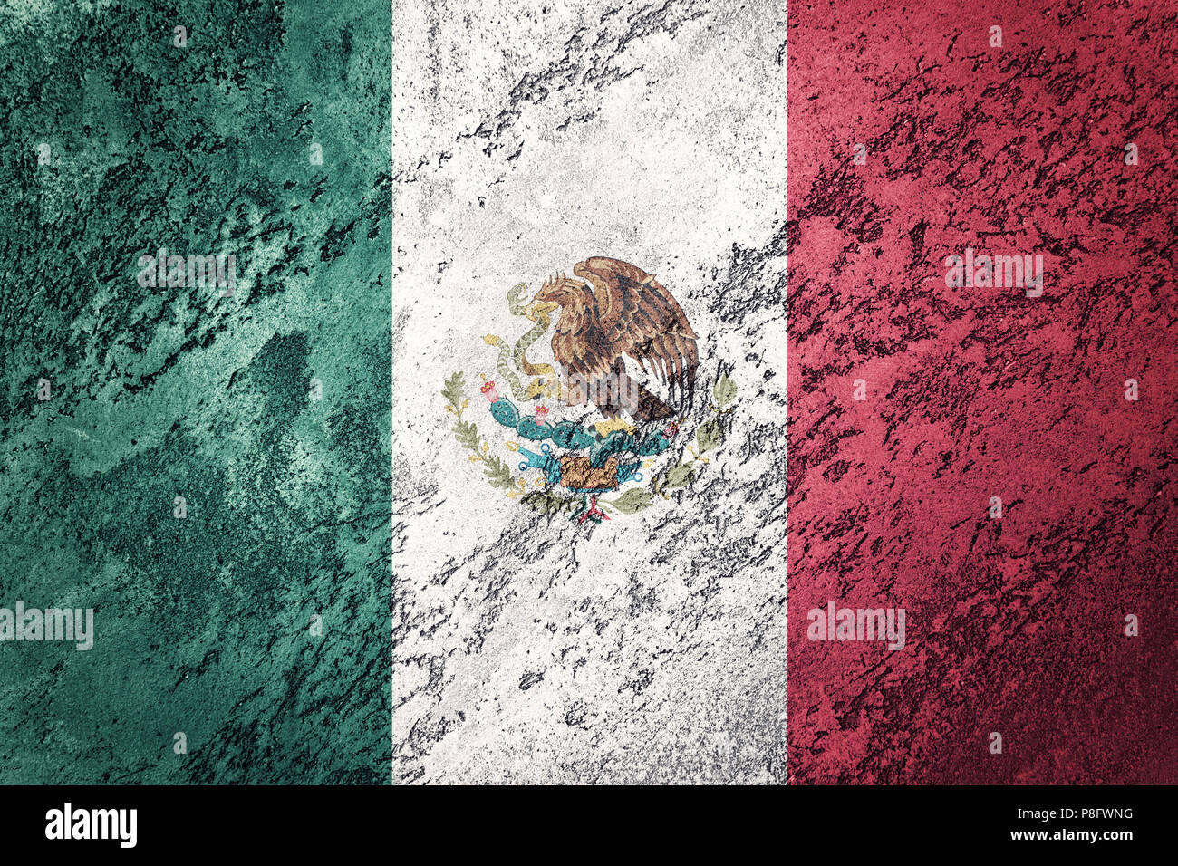 Grunge Mexico flag. Mexican flag with grunge texture. - Stock Image