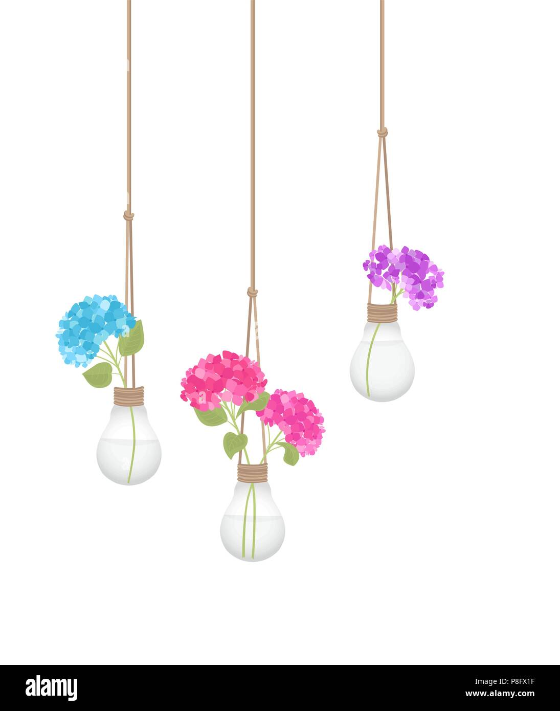 Vector Illustration Of A Flower In A Light Bulb Home Decor Stock