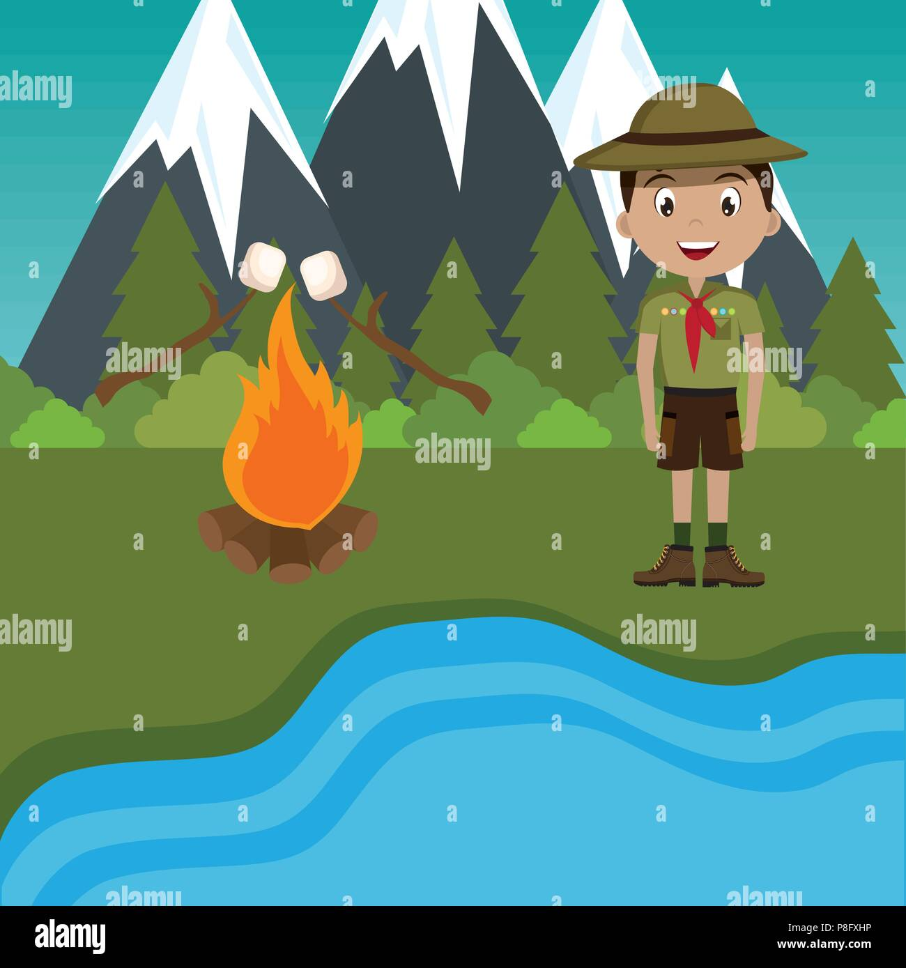 young scout in the camping zone scene - Stock Vector