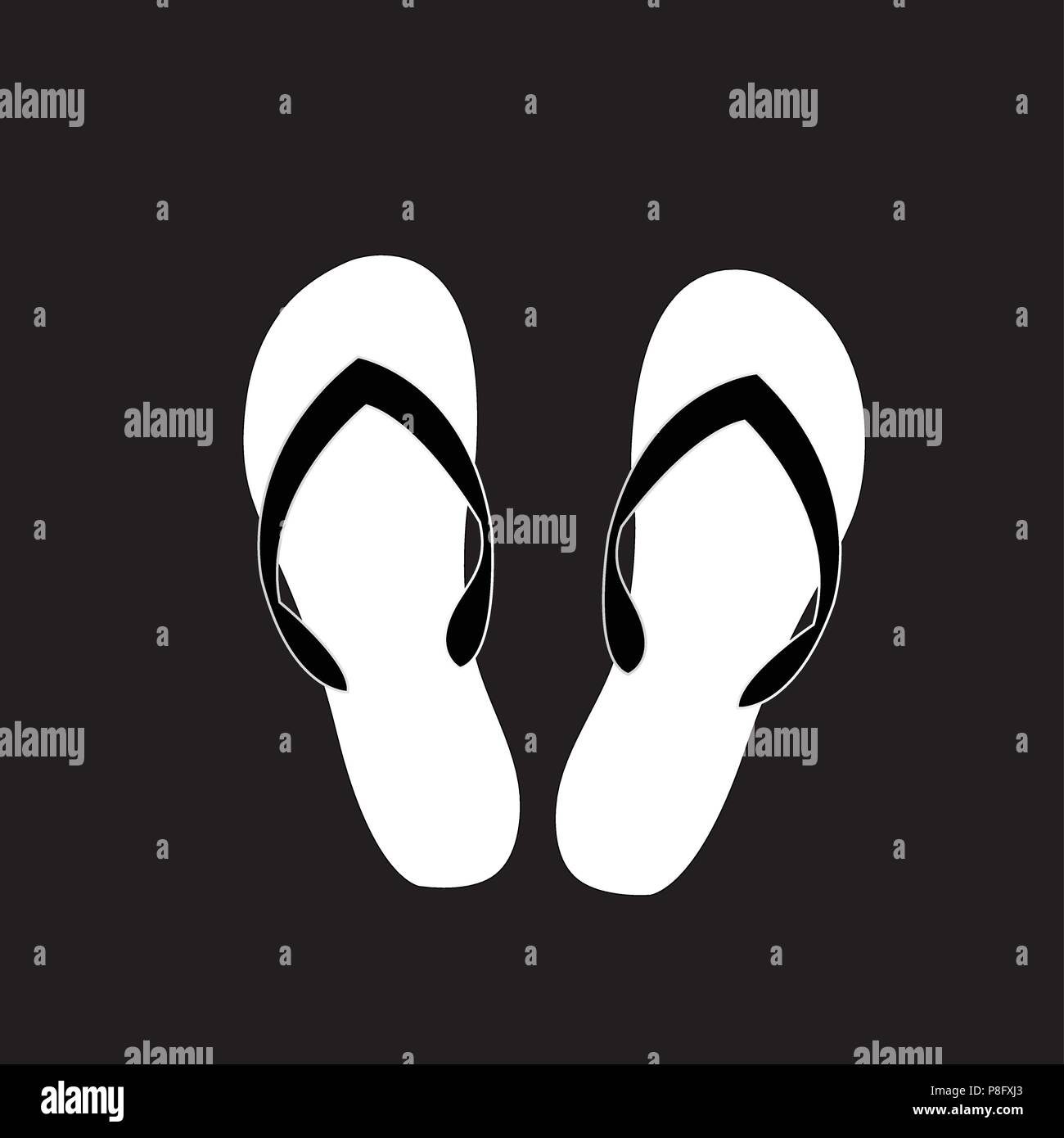 8d8f1f089 Vector black and white monochrome silhouette illustration of slippers icon  isolated on black background.