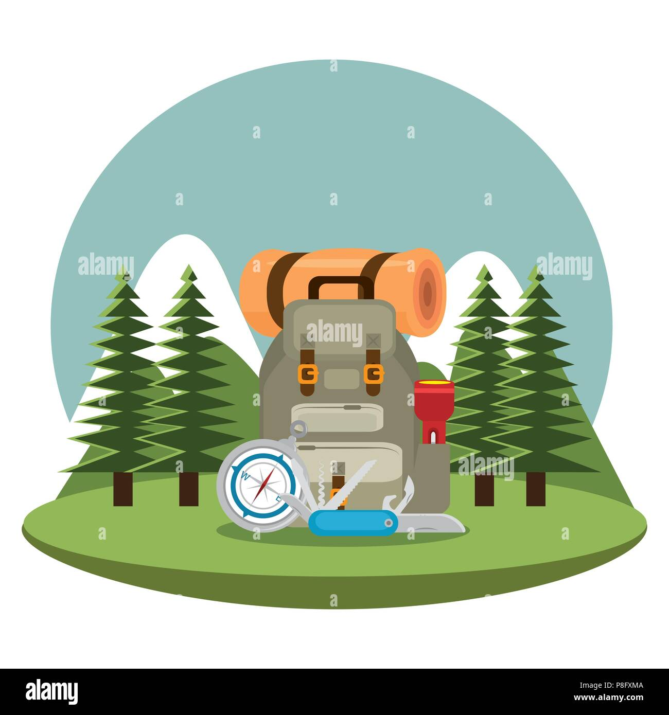 camping zone with equipment - Stock Image