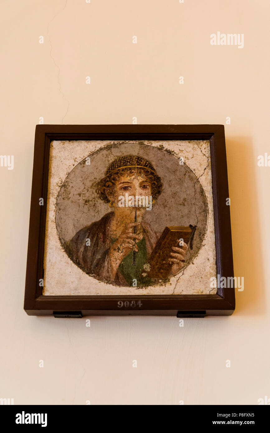 Portrait of Sapho, National Archaeological Museum, Naples, Italy - Stock Image