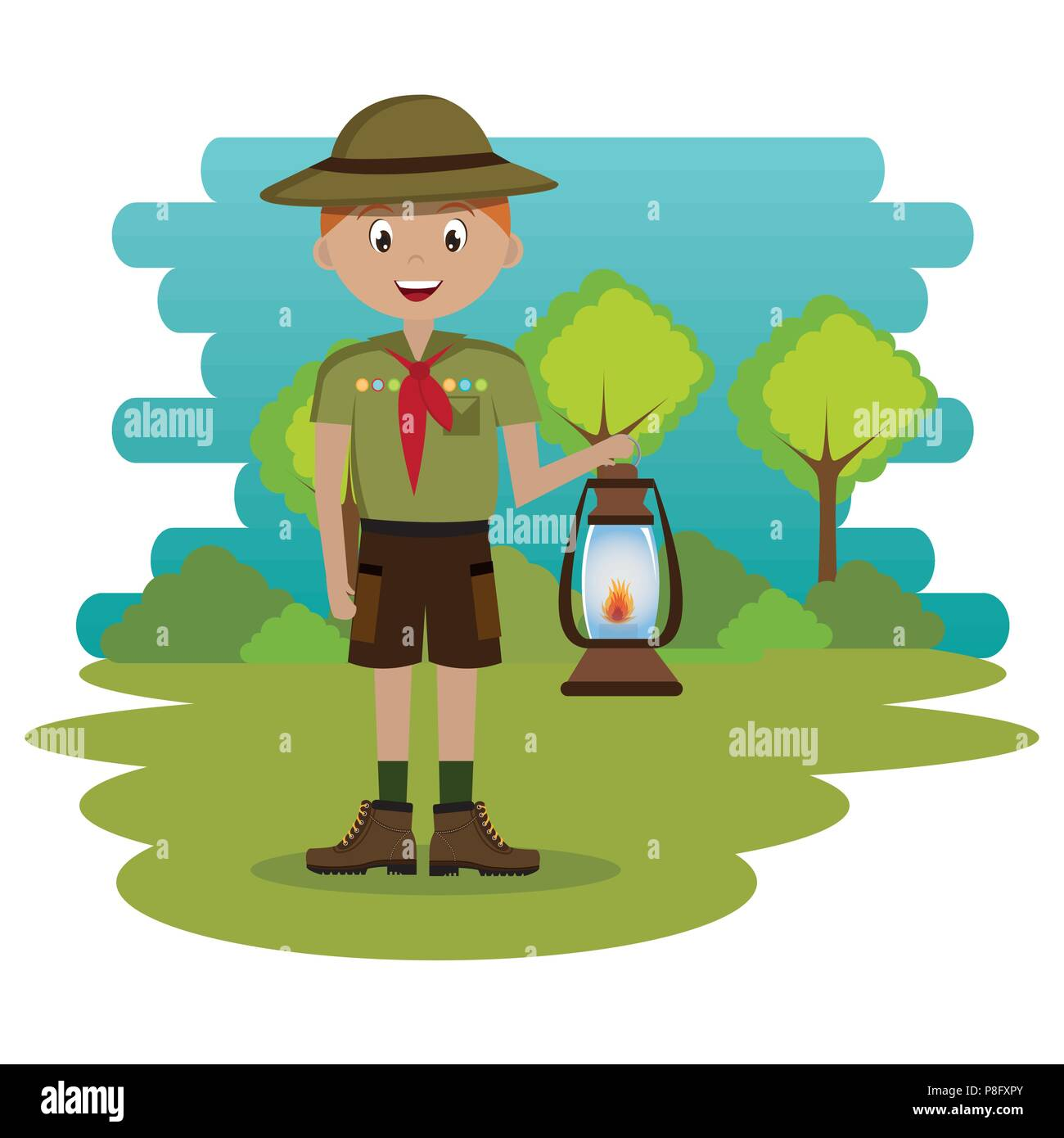 young scout in the camping zone scene - Stock Image