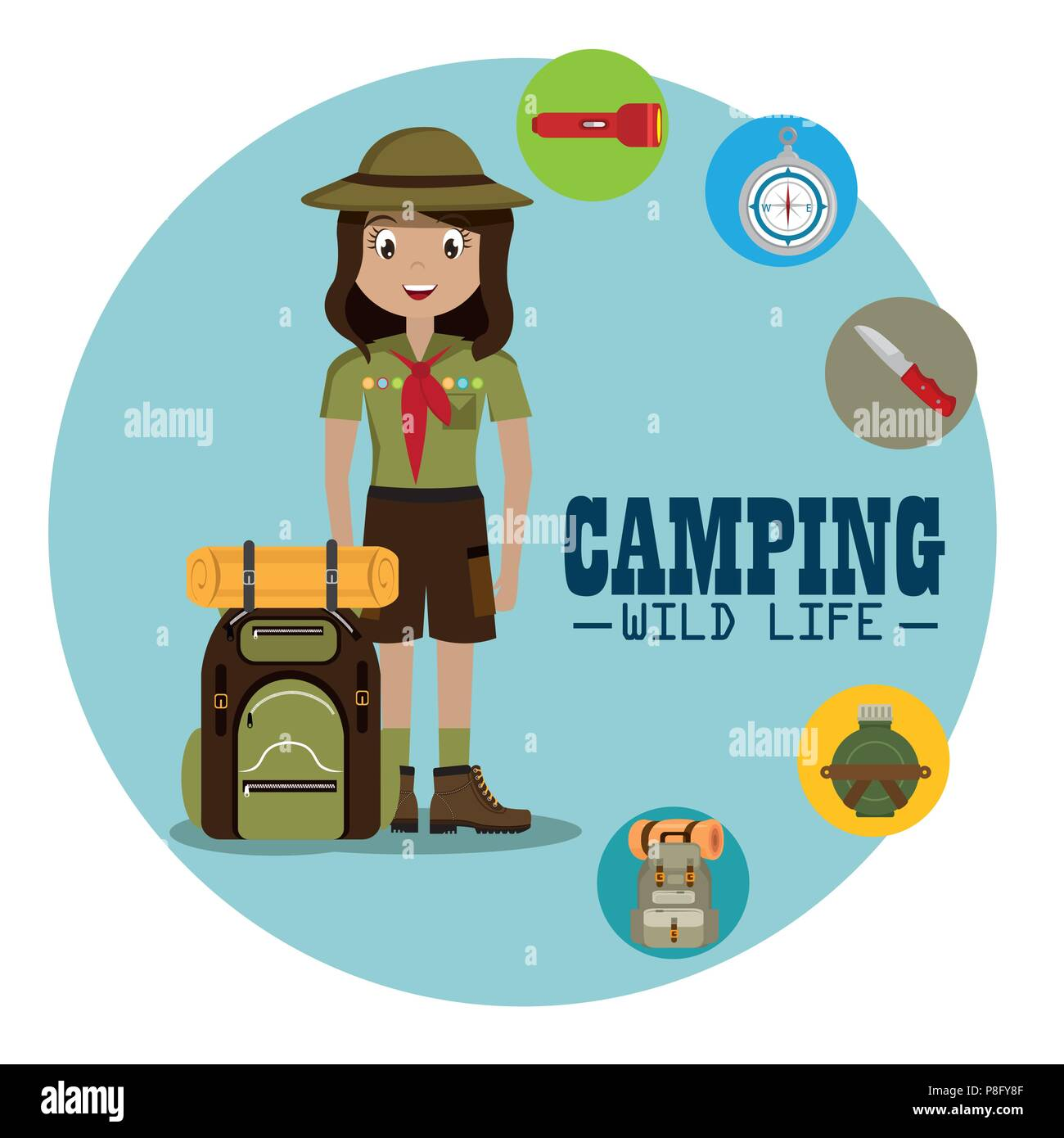 lady scout with camping equipment - Stock Image