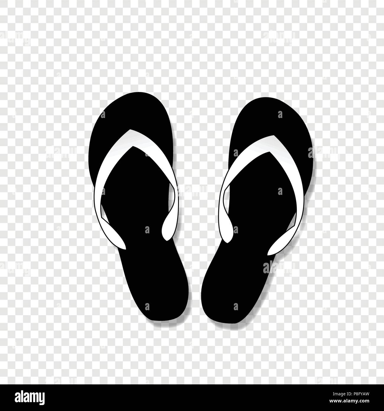 a8ca41526 Vector black and white monochrome silhouette illustration of flip-flops  icon isolated on transparent background.