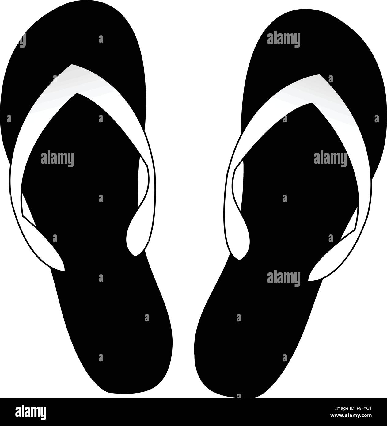 7e83822d7 Vector black and white monochrome silhouette illustration of flip flops icon  isolated on white background.