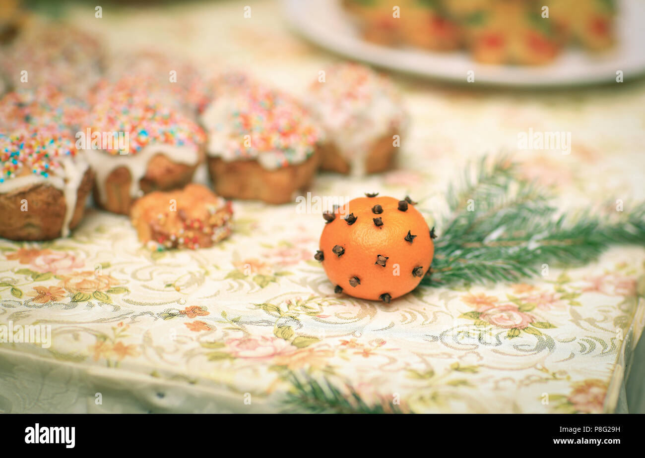 christmas oranges and muffins on the table - Christmas Oranges