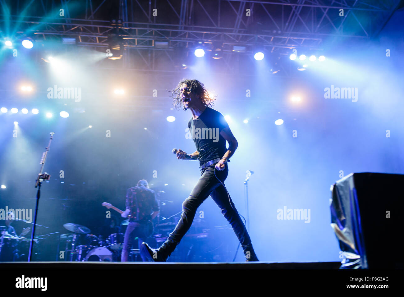 Turin, Italy. 10th July, 2018. Italian songwriter Motta performs live in Turin opening the flowers festival. Credit: Daniele Baldi/Pacific Press/Alamy Live News Stock Photo