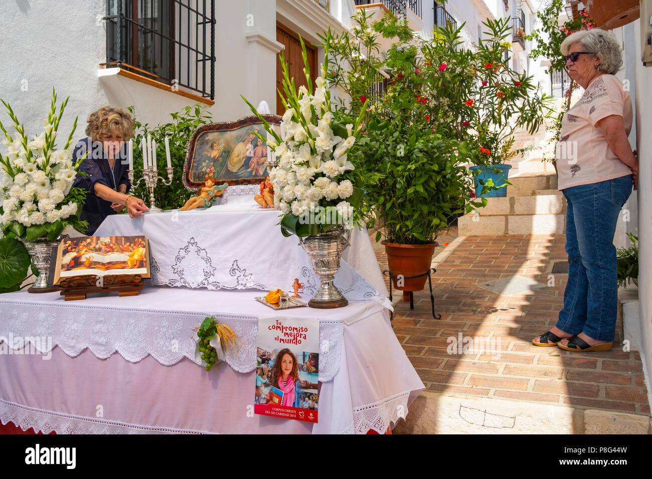 Celebration of Corpus Christi, typical white village of Mijas. Costa del Sol, Málaga province. Andalusia, Southern Spain Europe - Stock Image