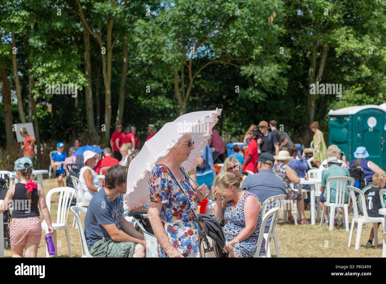 08 July 2018 – Stockton Heath Festival in Cheshire, England, UK, held their eleventh fete on the festival field where hundreds of people protected the Stock Photo