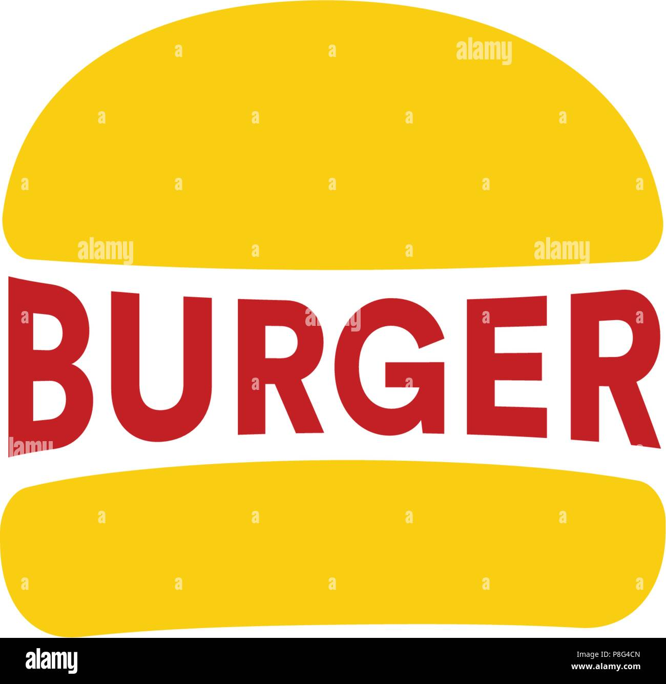 Big Burger Restaurant Logo Template Yellow Loaf And Red Sousage Or Burger Text Simple Flat Abstract Vector Illustrations Fast Food Icon Stock Vector Image Art Alamy