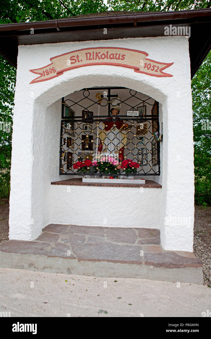 Santa Claus chapel Ubersee, Chiemsee, Bavaria, Germany, Übersee, Uebersee, Santa Claus figure - Stock Image