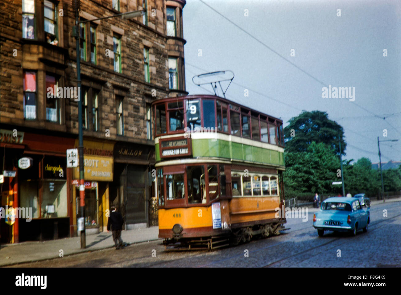 Glasgow Tram No 488 near Partick on route 9 Image taken on 22/05/1961 - Stock Image